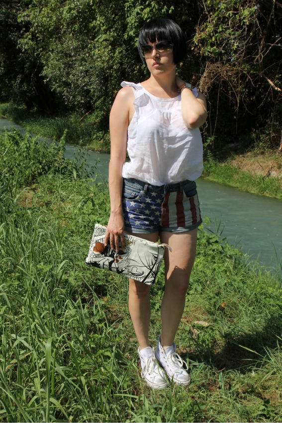 thechilicool, wearing the american flag, topshop,prada clutch,chanel sunglasses,fashion blogger