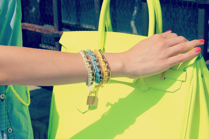 HAPPINESS BRACELETS Neon and denim