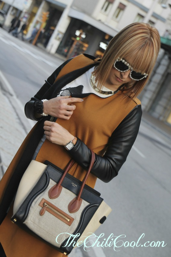alessia milanese,thechilicool,fashion blog,fashion blogger,camel coat with leather sleeves, celine bag, cesare paciotti shoes