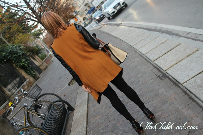alessia milanese,thechilicool,fashion blog,fashion blogger, camel coat with leather sleeves, celine bag, cesare paciotti shoes