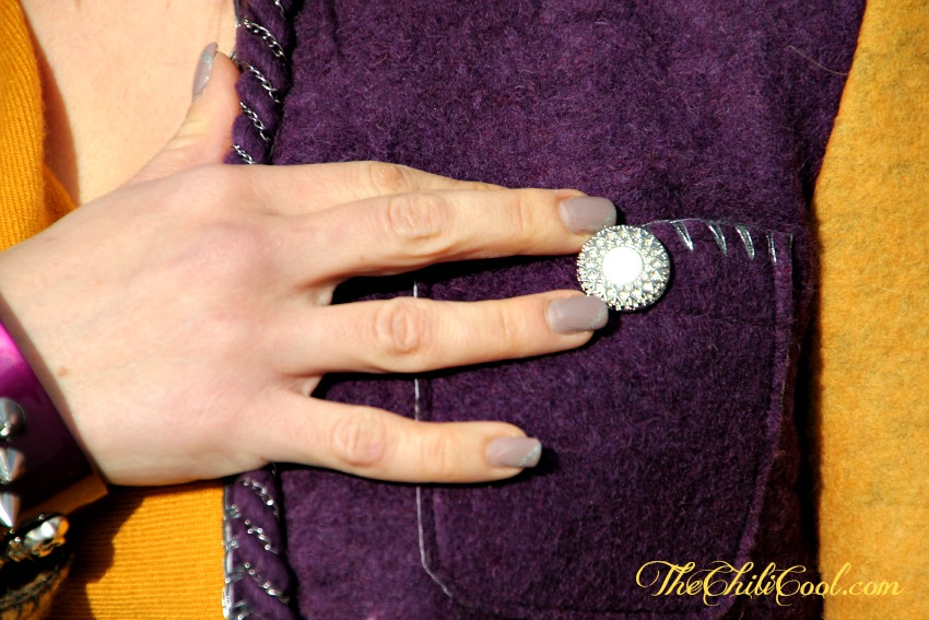 alessia milanese,thechilicool,fashion blog, fashion blogger, viola e mostarda un turbinio di colori nella giacca  de'hart