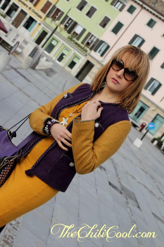 alessia milanese,thechilicool,fashion blog,fashion blogger,viola e mostarda un turbinio di colori con de'hart,
