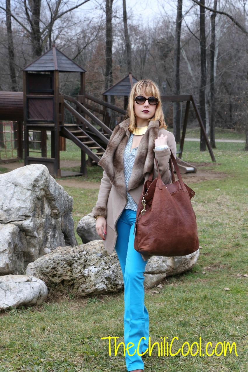 alessia milanese, thechilicool, fashion blog, fashion blogger, back to the '70s con un tocco di turchese, trussardi bag,  lita jeffrey cambell
