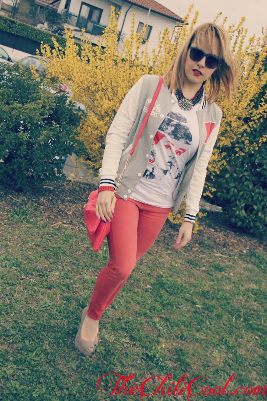 alessia milanese, thechilicool, fashion blog, fashion blogger,ritorno a scuola con una varsity jacket grigio perla