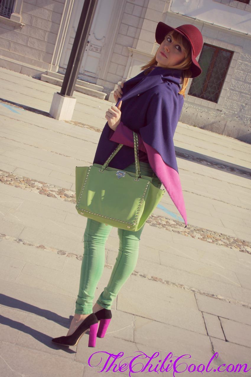 alessia milanese, thechilicool, fashion blog, fashion blogger,magia e mistero in un gioco di viola e verde, valentino rockstud bag