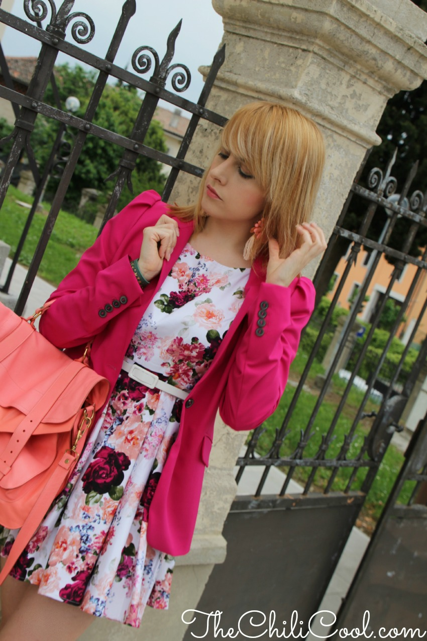 alessia milanese, thechilicool, fashion blog, fashion blogger,primavera in fiore con un abitino a fiori e un pizzico di rosa salmone, ps1 proenza schouler