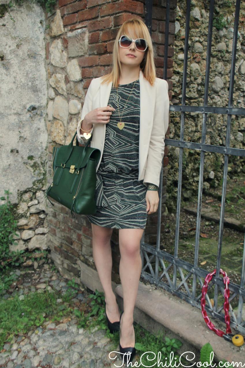 alessia milanese, thechilicool, fashion blog, fashion blogger,raffinato melange di verde bosco, bianco panna e nero, pashli 3.1 phillip lim