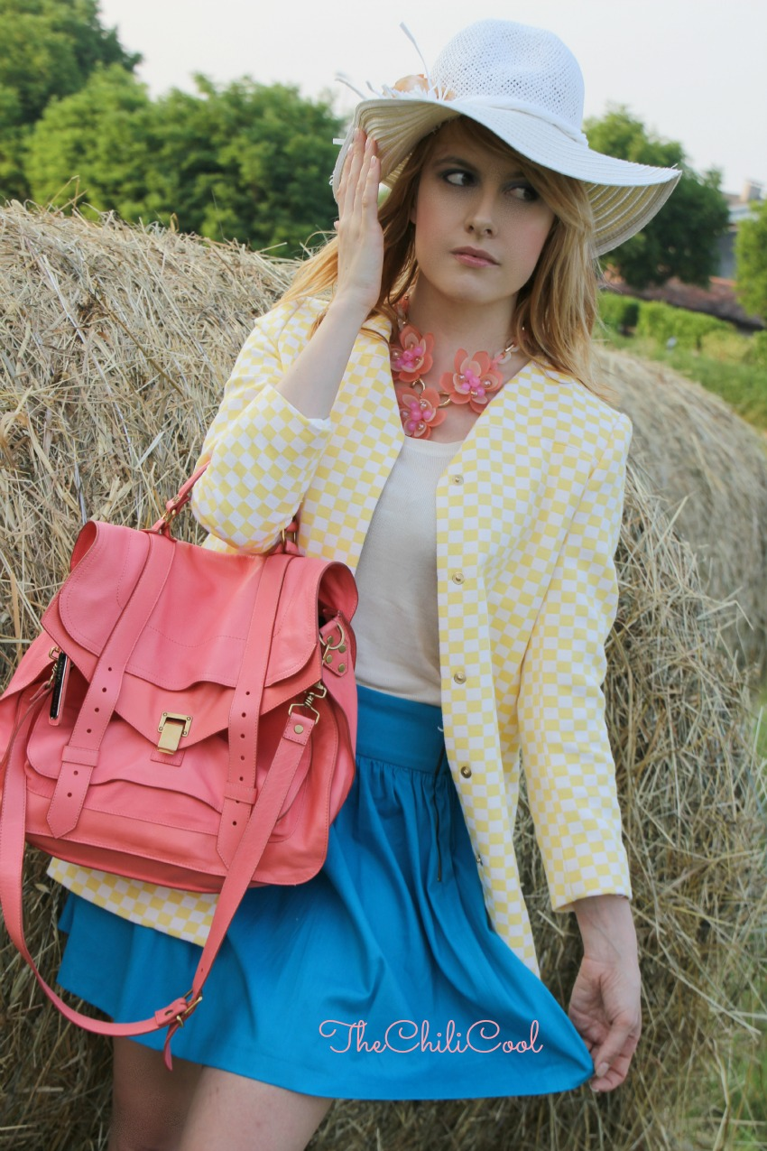 alessia milanese, thechilicool, fashion blog, fashion blogger,country glam con giallo tenue, turchese e rosa salmone, ps1 proenza schouler