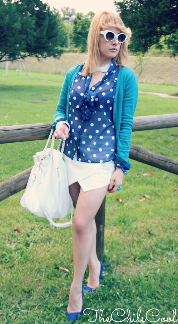 alessia milanese, thechilicool, fashion blog, fashion blogger, pois bianchi su tela blu ed un cardigan malizioso