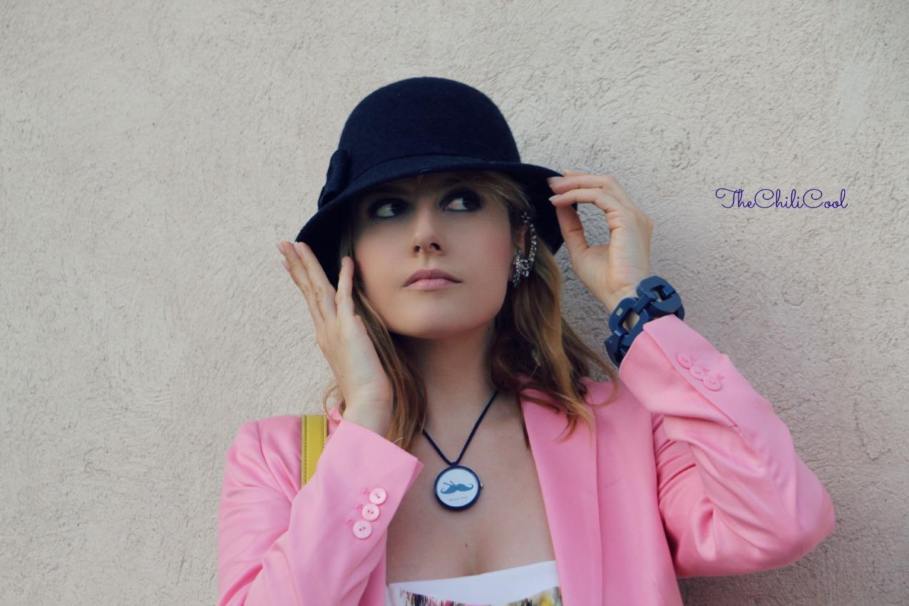 alessia milanese, thechilicool, fashion blog, fashion blogger,allure da dandy con jumpsuit floreale e blazer rosa baby, borsa fossil