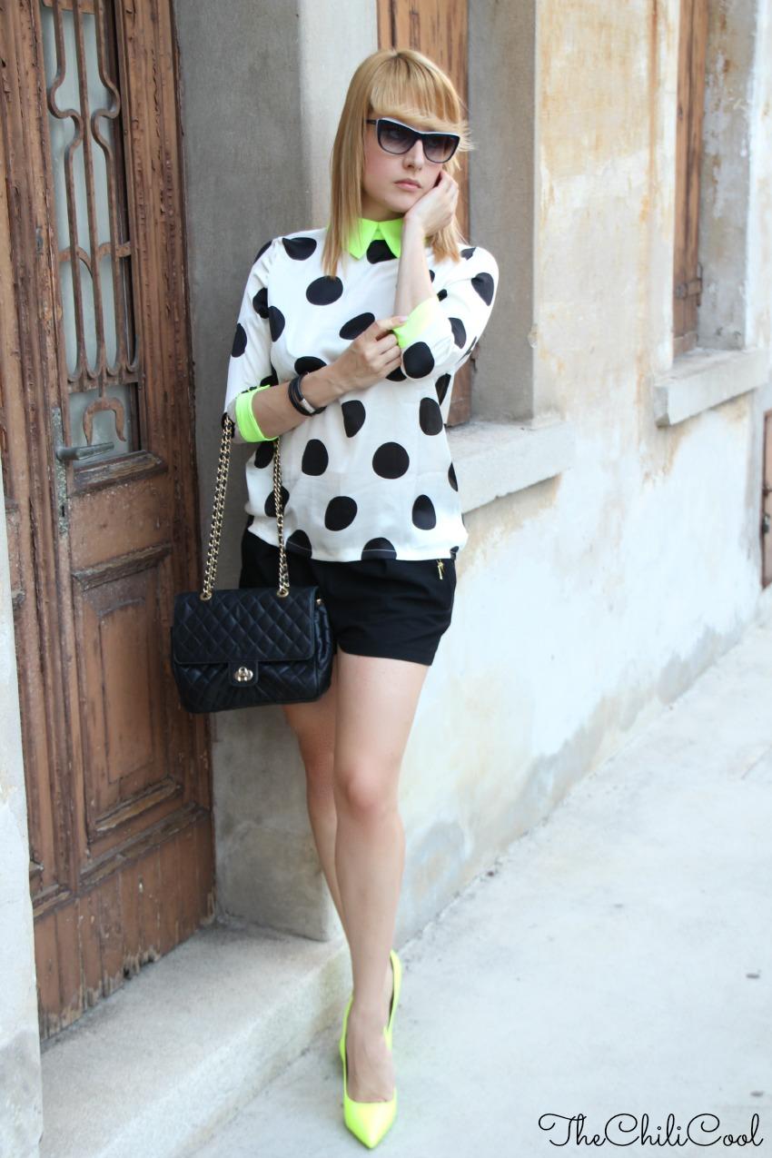 alessia milanese, thechilicool, fashion blog, fashion blogger,polka dots e contaminazioni neon