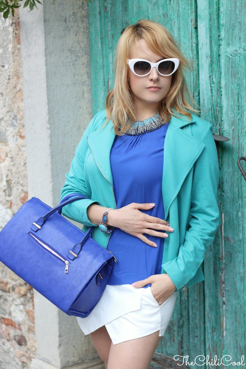alessia milanese, thechilicool, fashion blog, fashion blogger,turchese e royal blue in un venerdì di settembre, collana ottaviani bijoux