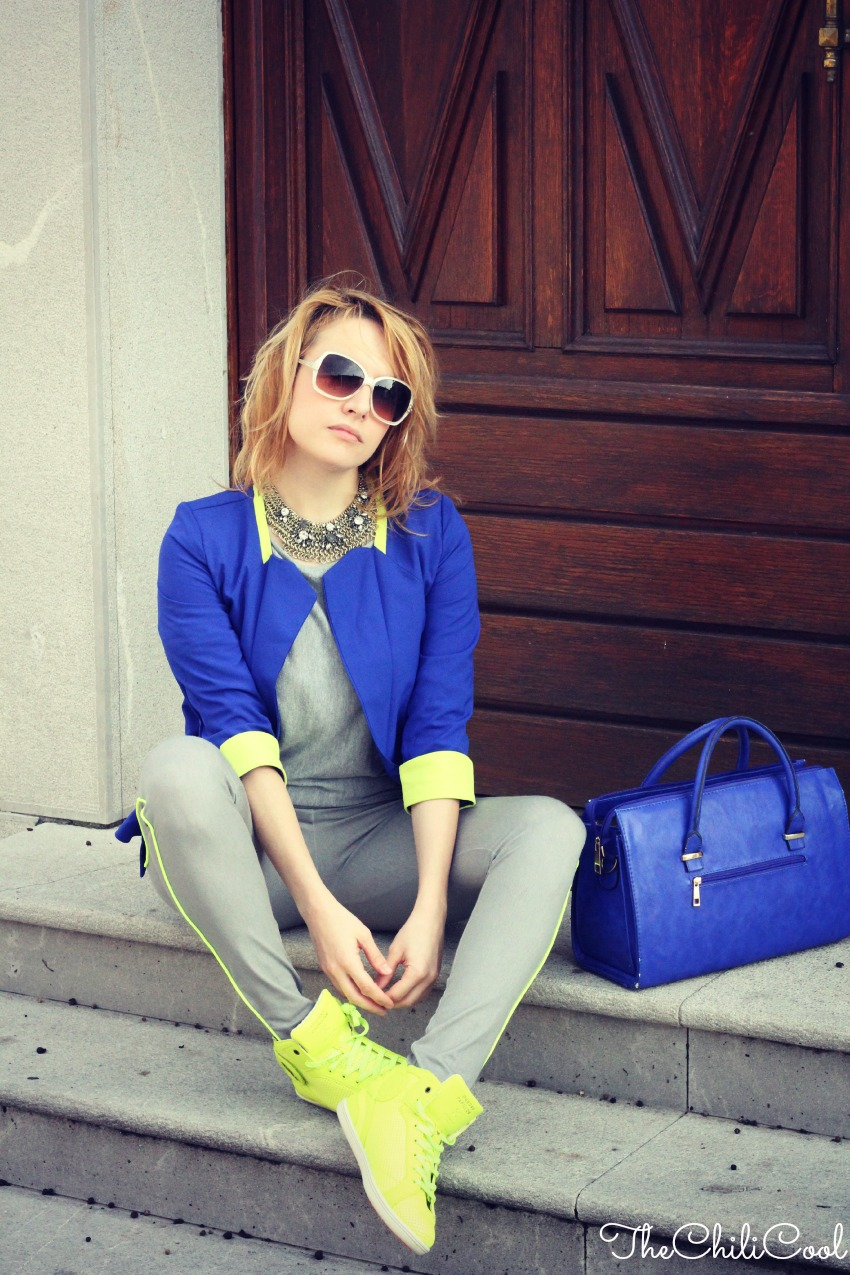 alessia milanese, thechilicool, fashion blog, fashion blogger,Supponendo che. Chiacchiere sparse tra royal blue e giallo lime , barons papillom sneakers