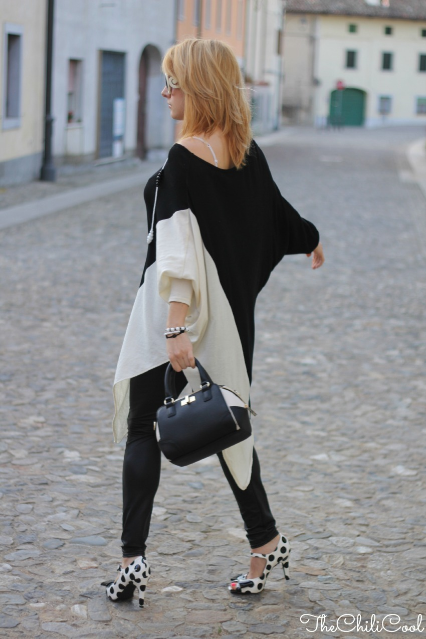 alessia milanese, thechilicool, fashion blog, fashion blogger,Black&White series: un maxi pull asimmetrico
