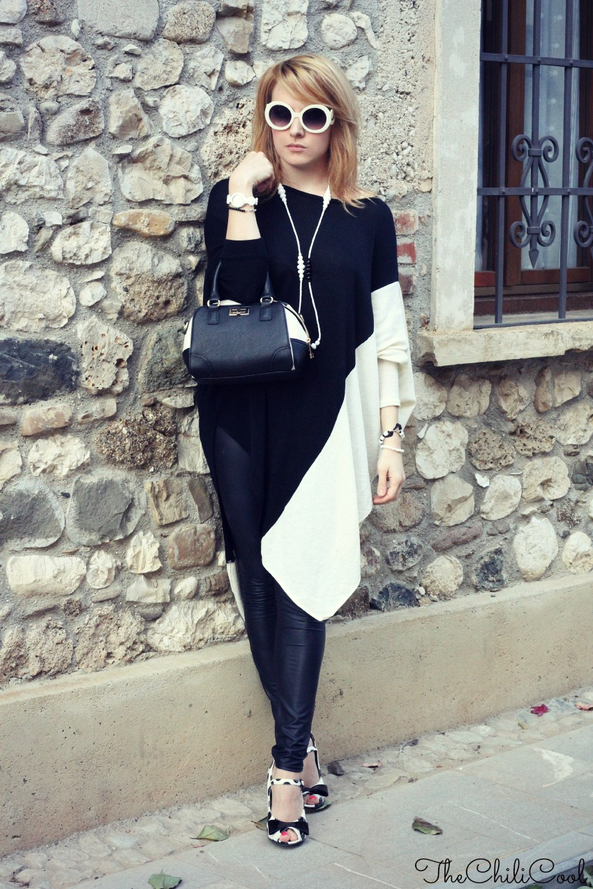 alessia milanese, thechilicool, fashion blog, fashion blogger,Black&White series: un maxi pull asimmetrico