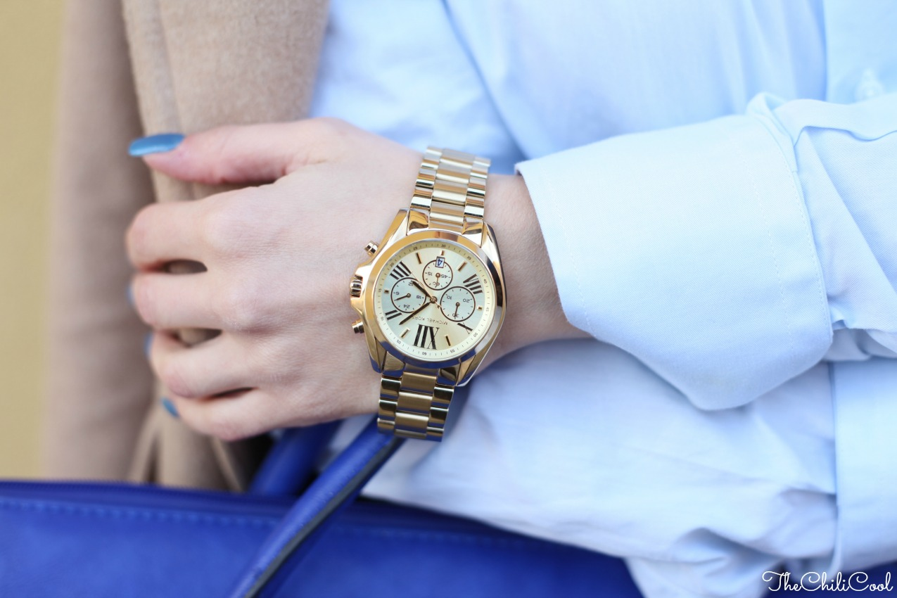 alessia milanese, thechilicool, fashion blog, fashion blogger,#2w2m #urbancharm look elegante con cappotto cammello e dettagli blu, michael kors watch