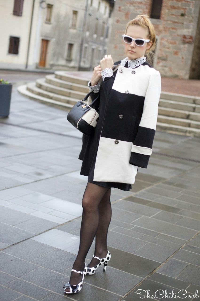Black&White series #4: abito con colletto bianco e scarpe a pois, alessia milanese, thechilicool, fashion blog, fashion blogger italiane