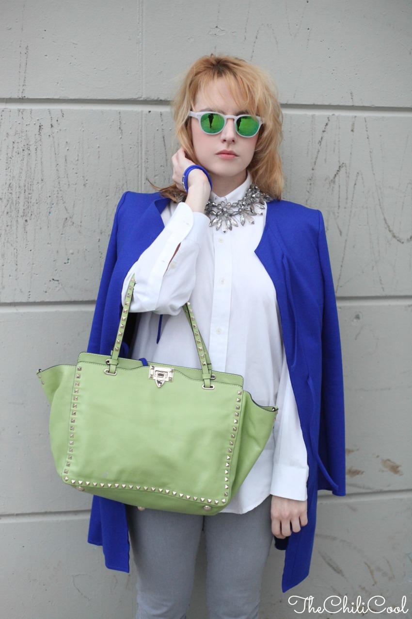 #TieUpsStyle: verde acido e royal blue con una cintura personalizzata, alessia milanese, thechilicool, fashion blog, fashion blogger, valentino bag