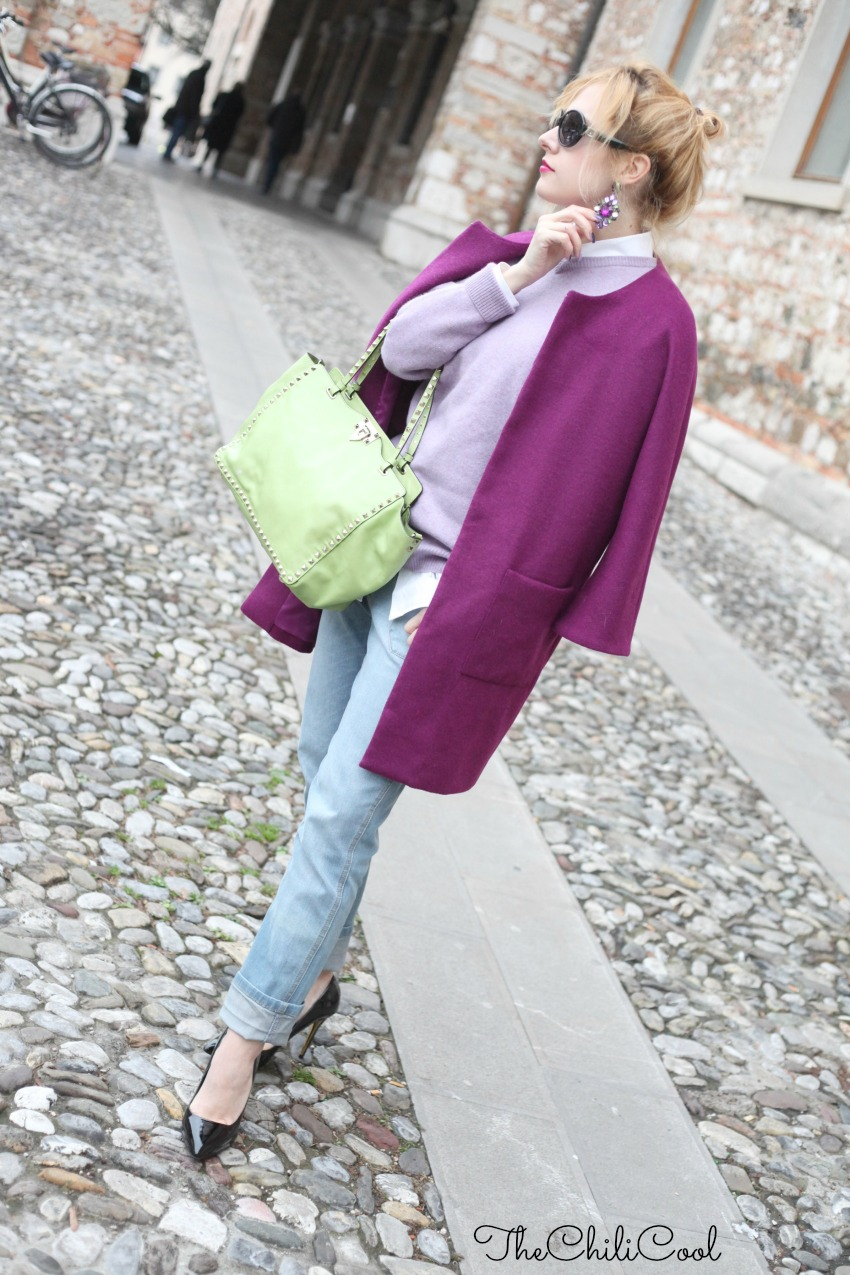 alessia milanese, thechilicool, fashion blog, fashion blogger,il viola e le sue sfumature, valentino rockstud bag