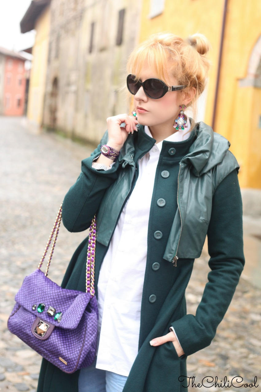 alessia milanese, thechilicool, fashion blog, fashion blogger,cappotto verde bosco e cenni di viola