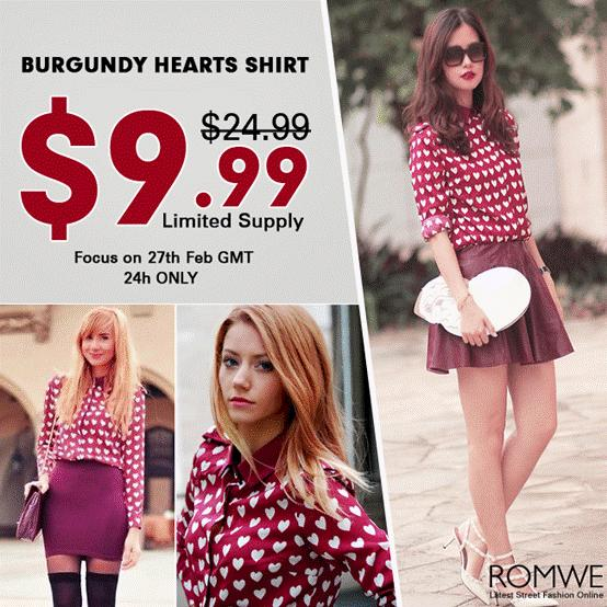 burgundy hearts shirt