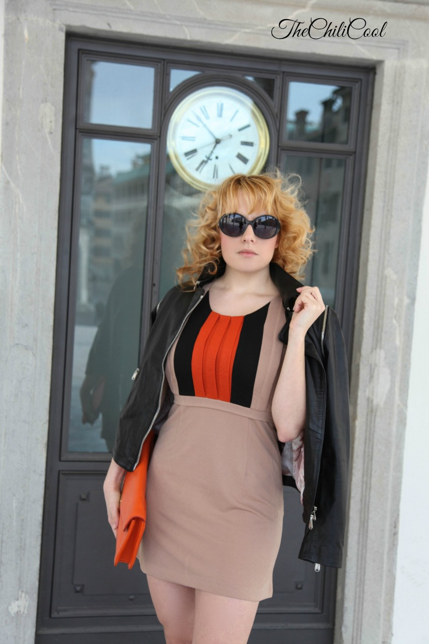 Abitino color cammello e giacca in pelle, alessia milanese, thechilicool, fashion blog, fashion blogger