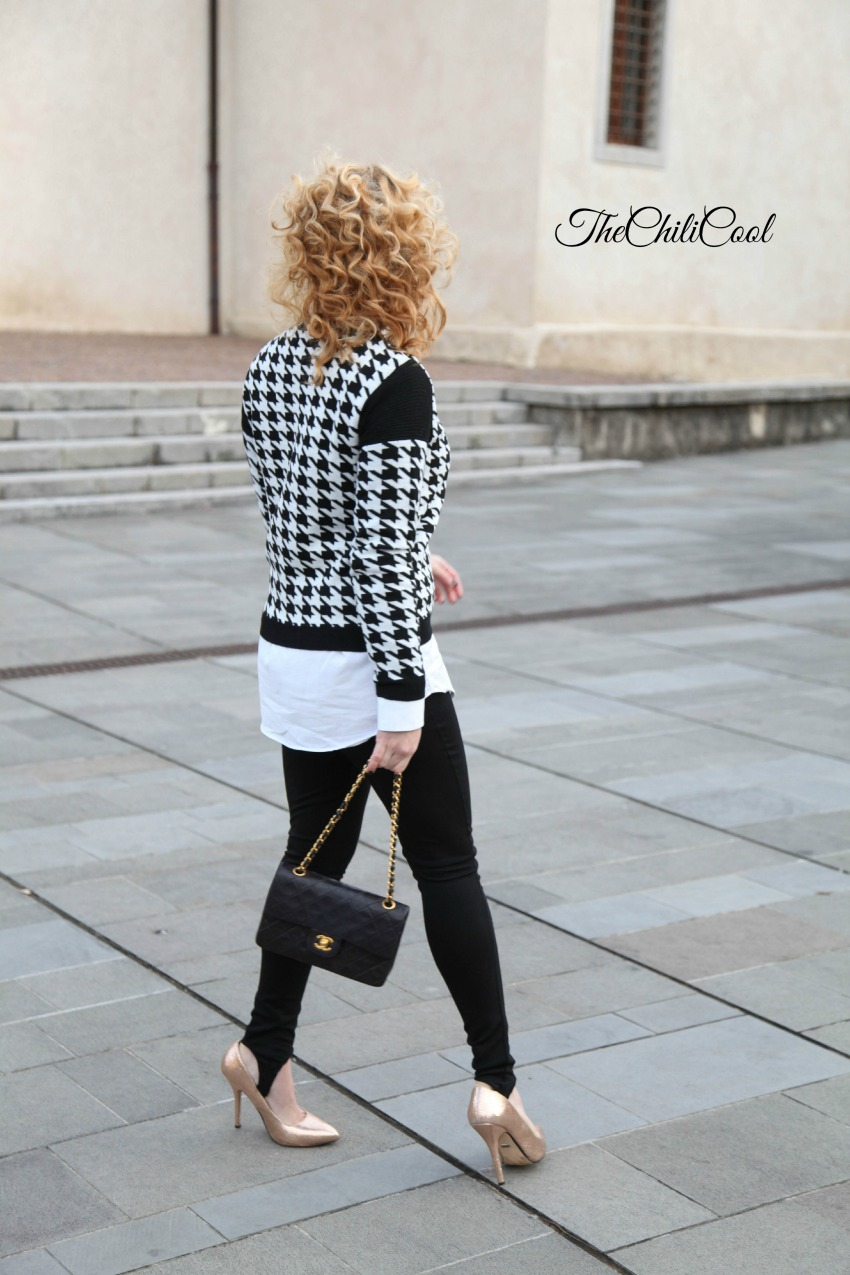Black&White series #9: maglia pied de poule, alessia milanese, thechilicool, fashion blog, fashion blogger, chanel 2.55 bag