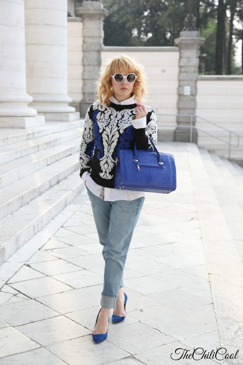 royal blue tra bianco e nero, alessia milanese, thechilicool, fashion blog, fashion blogger