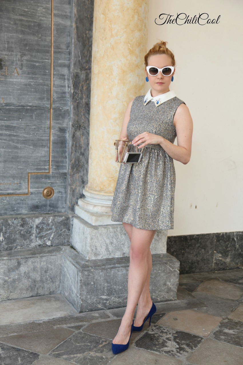 Tweed e sottili fill dorati, tra gemme blu e dettagli bianchi, alessia milanese, thechilicool, fashion blog, fashion blogger