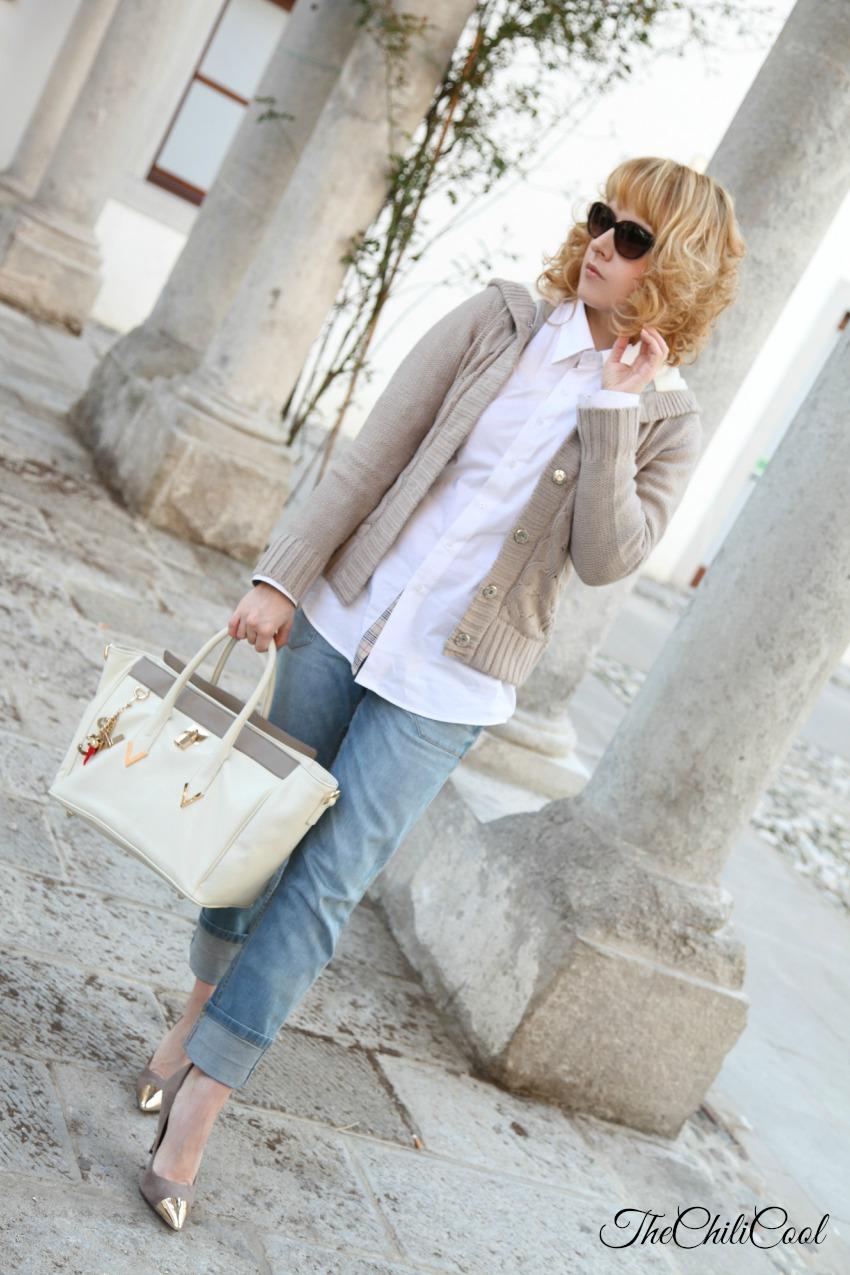 Cardigan e boyfriend jeans: easy outfit del venerdì, alessia milanese, thechilicool, fashion blogger, fashion blog