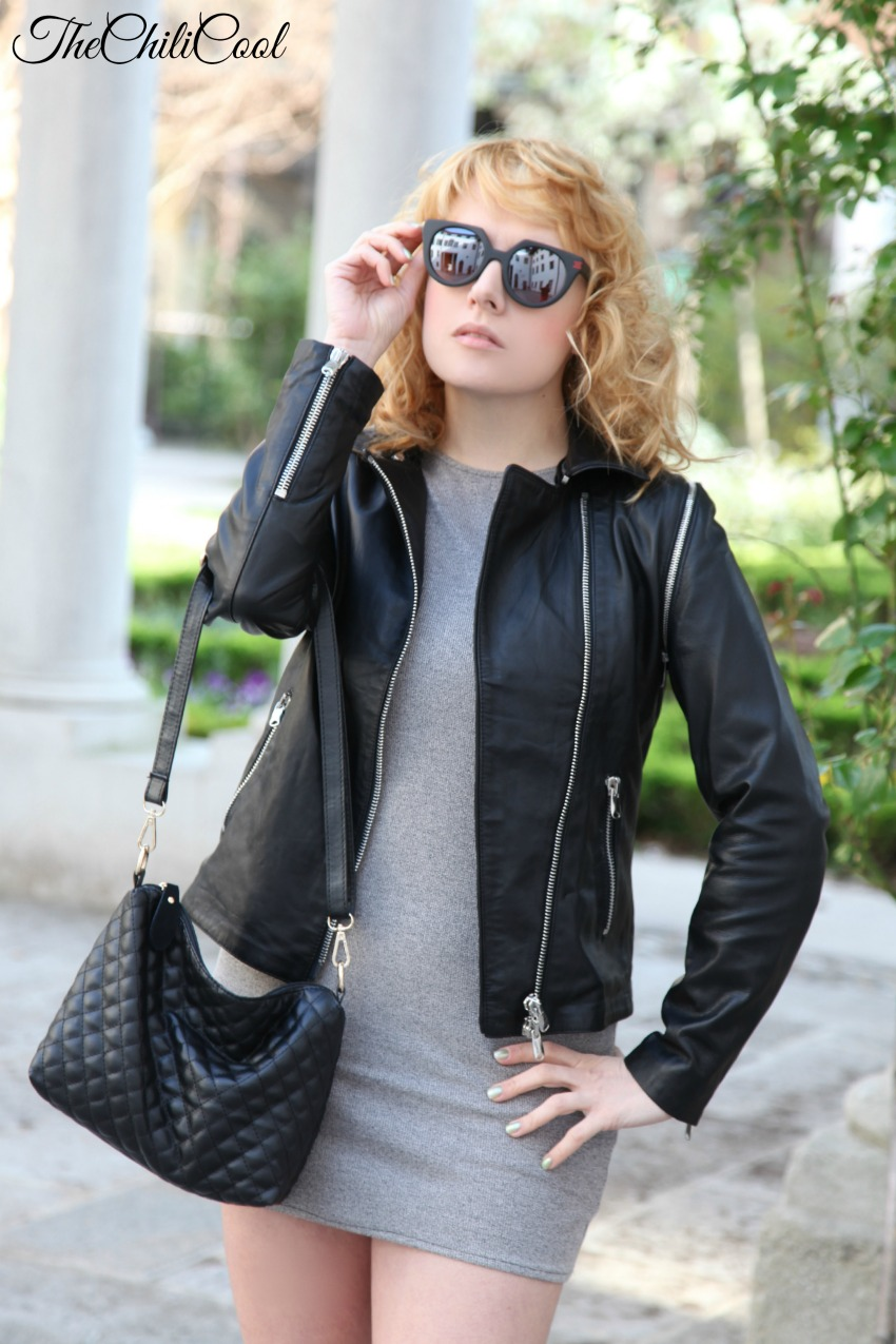grey&black leather , alesia milanese, thechilicool, fashion blog, fashion blogger italiane