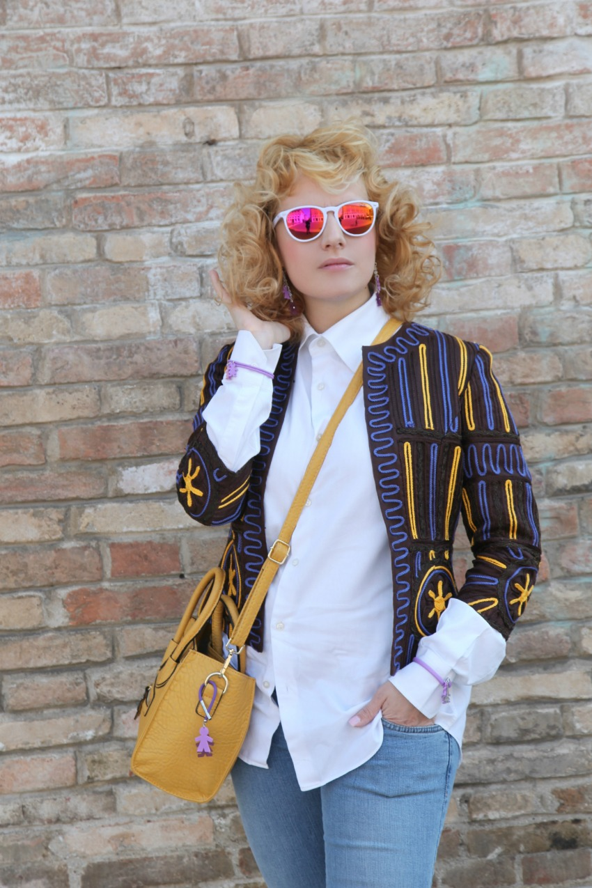 Giacca vintage Cavalli e mirror sunglasses, alessia milanese, thechilicool, fashion blog, fashion blogger
