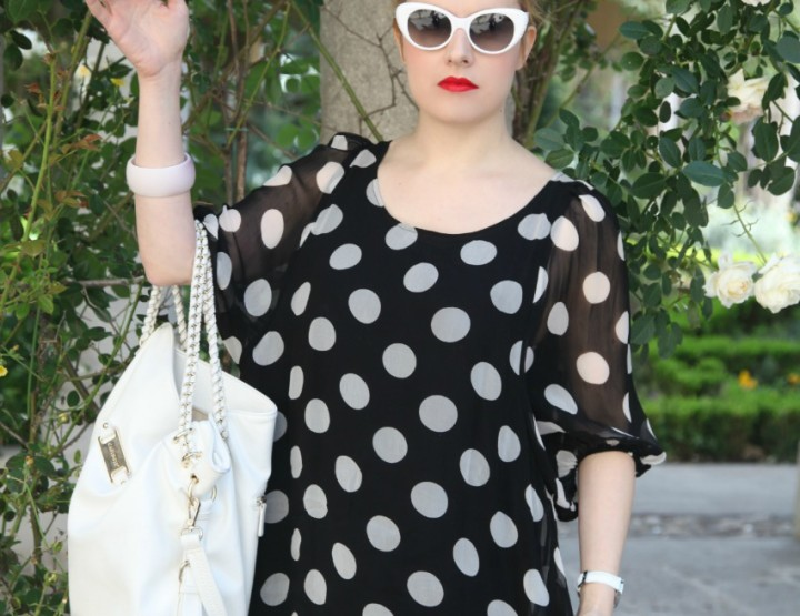 Black & white series #12: white polka dots