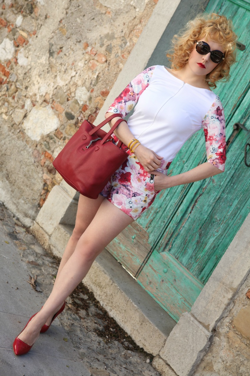 alessia milanese, thechilicool, fashion blog, fashion blogger, floral playsuit,  lanvin for h&m shoes