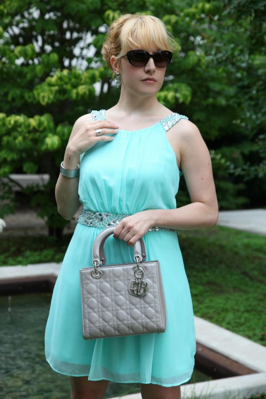 Abito turchese e applicazioni di cristalli - scene da un matrimonio, parte prima, alessia milanese, thechilicool, fashion blog, fashion blogger, lady dior bag