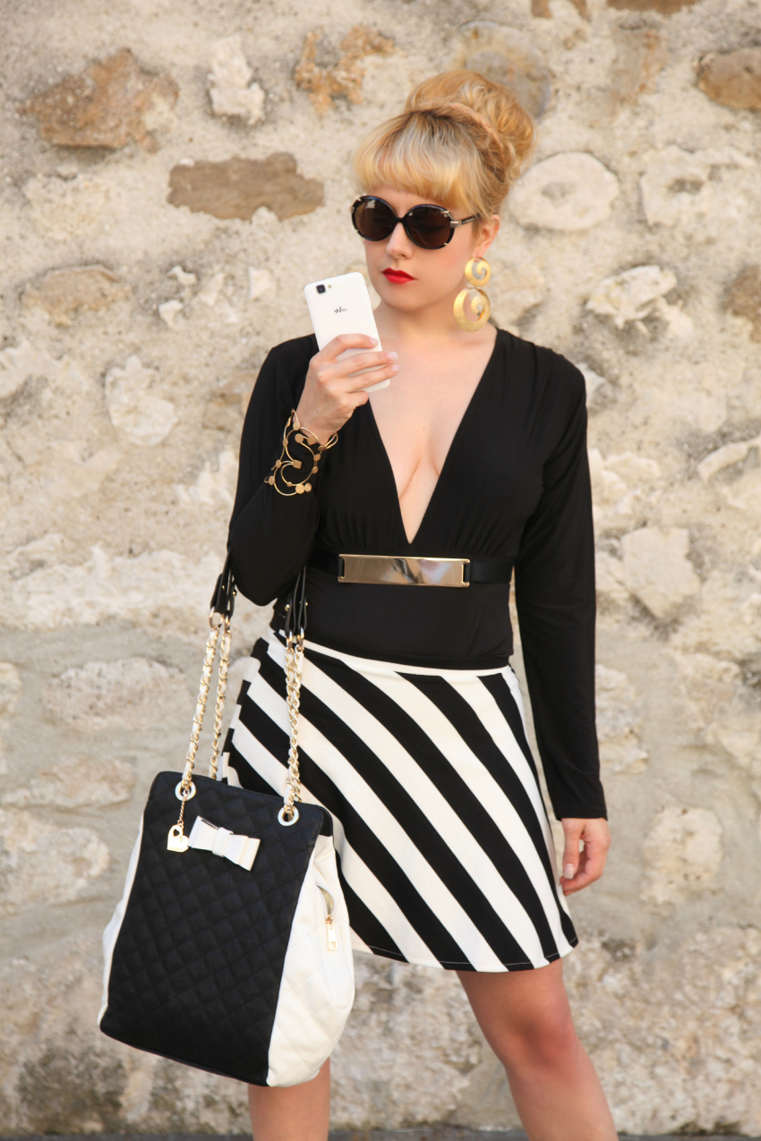 Black & White series #17: the striped skirt, alessia milanese, thechilicool, fashion blog, fashion blogger, gioielli vitti ferria contin