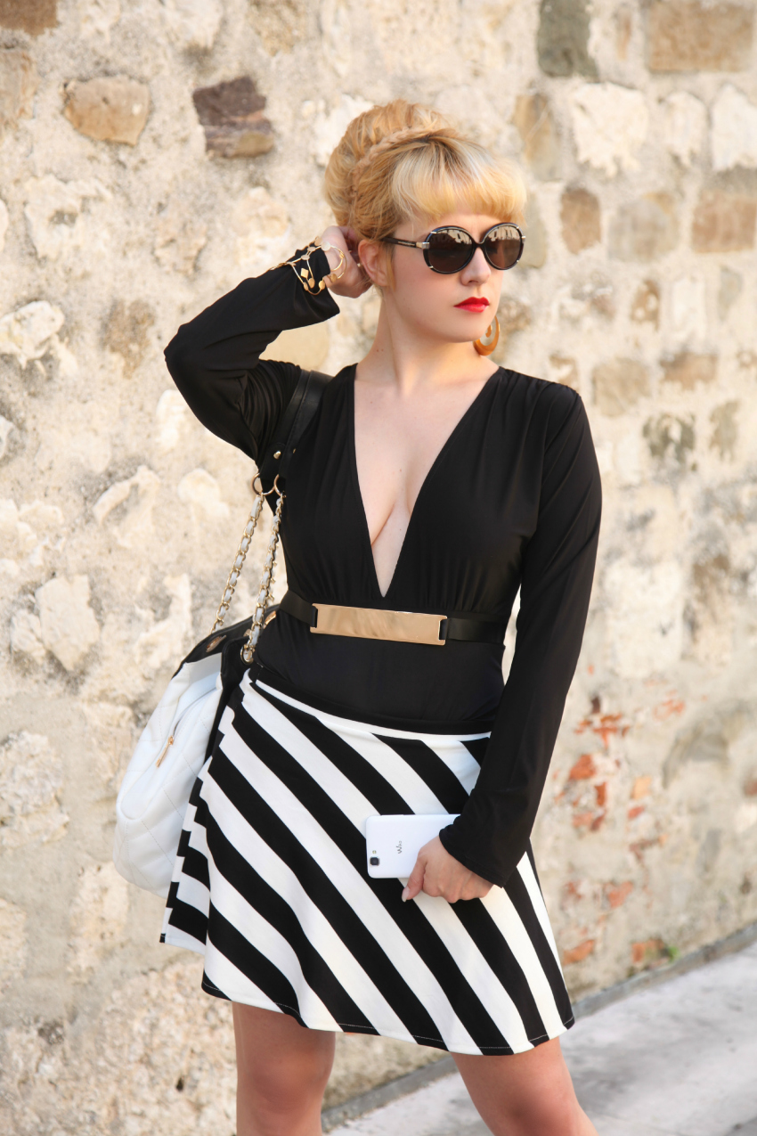Black & White series #17: the striped skirt, alessia milanese, thechilicool, fashion blog, fashion blogger, gioielli vitti ferria contin