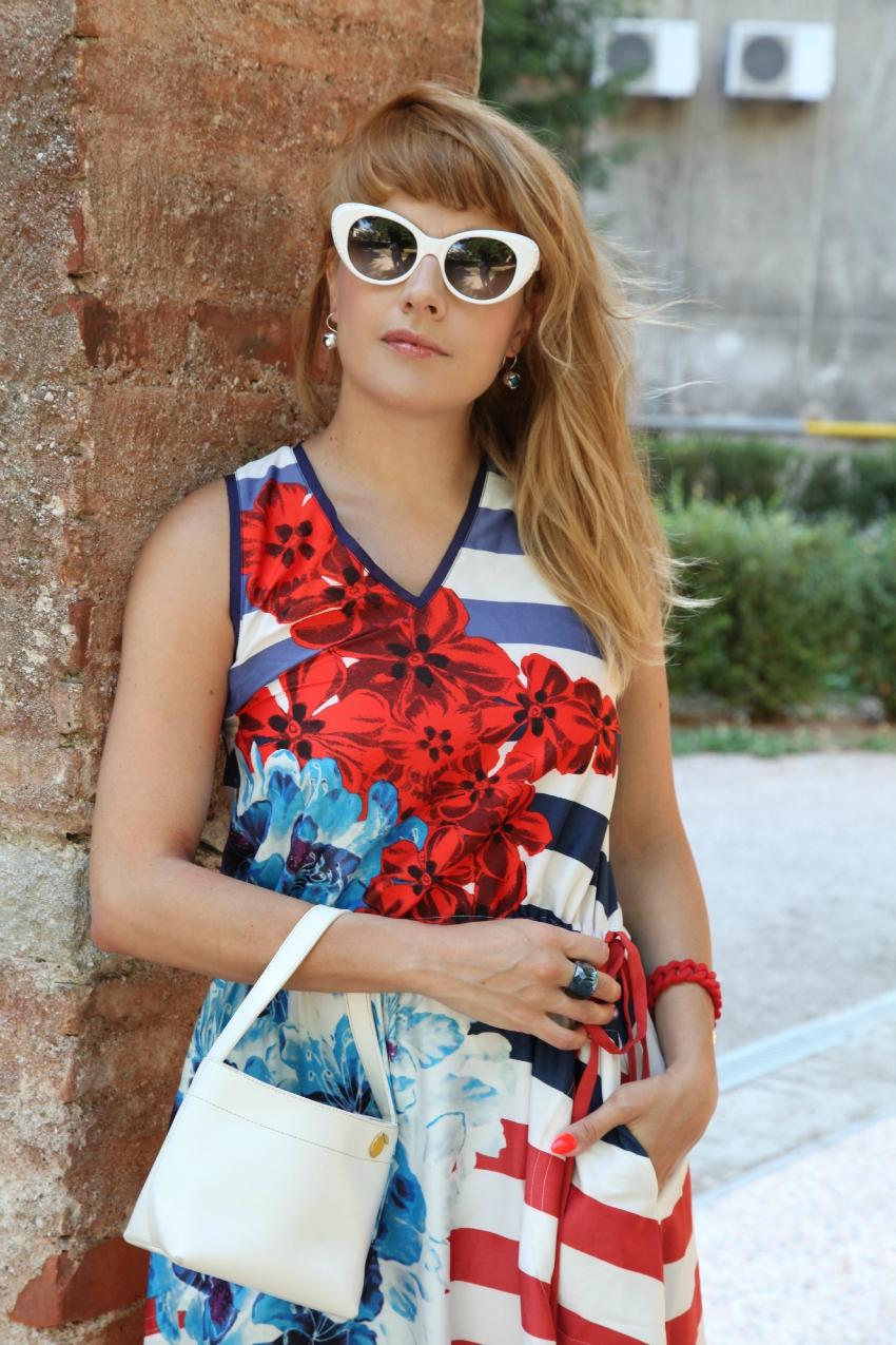 Fiori e righe e cieli da percorrere, alessia milanese, thechilicool, fashion blog, fashion blogger, desigual