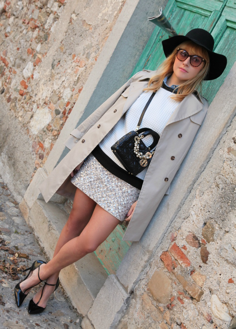 Sospesa. Nebbia ed una gonna di paillettes, alessia milanese, thechilicool, fashion blog, fashion blogger, lady dior bag