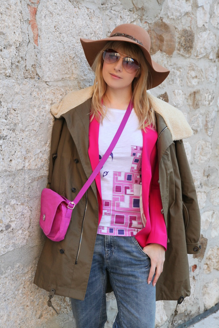 Pink...parka, alessia milanese, thechilicool, fashion blog, fashion blogger , mnc by martina tittonel tee