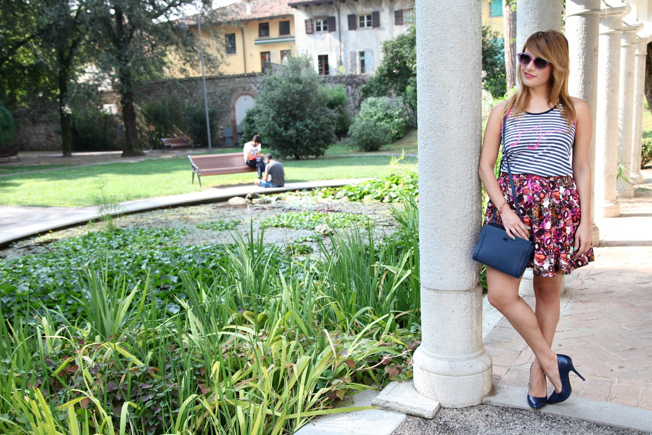 Stripes&flowers: late summer look, alessia milanese, thechilicool, fashion blog, fashion blogger