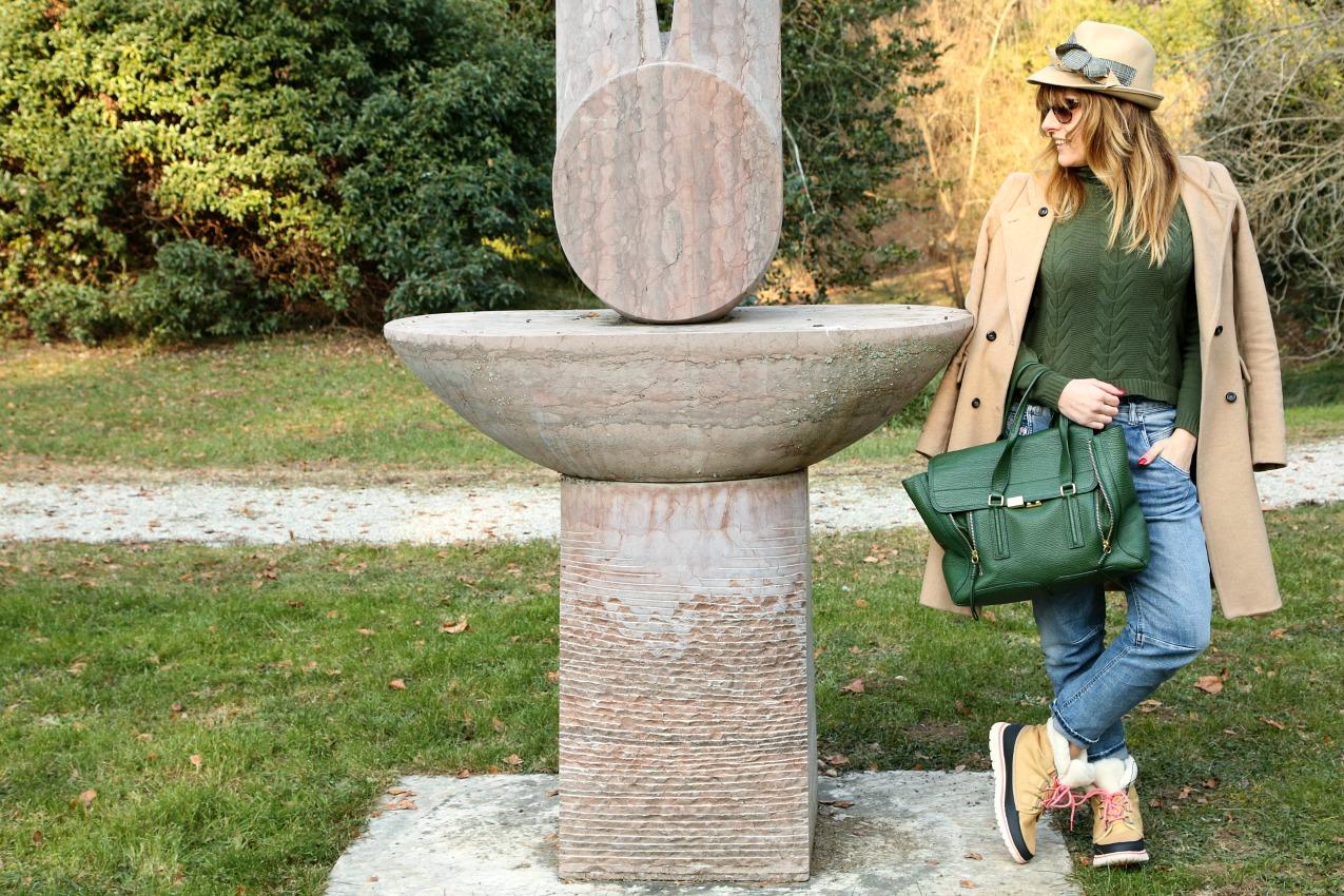 Favole moderne, il silenzio di un parco ed il verde, alessia milanese, thechilicool, fashion blog, fashion blogger , sorel rain boots
